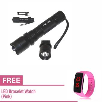 Rechargeable Police Flashlight Stun Gun Taser (Black) With Free LEDWaterproof Watch (Pink)