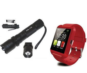 Rechargeable Police Flashlight with Stun Gun Taser With M8Bluetooth Touchscreen Smart Watch (Red)