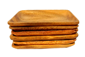 Rectangular Plate Tray Set of 6 (Brown)