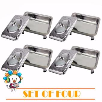 Rectangular Stainless Food Warmer Tray With Pattern Design CoverSET of 4