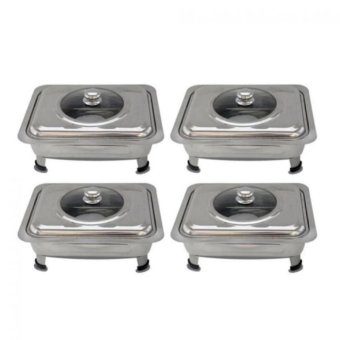 Rectangular Stainless Steel Food Warmer Set of 4 (Silver)