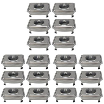 Rectangular Stainless Steel Food Warmer Tray Container Set of 18 (Silver)