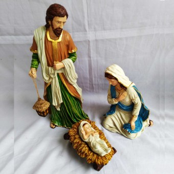 Religious Item Set of 5 Nativity Scene / Belen (Jesus with Virgin Mary (BLUE) and Saint Joseph) Figurines (Made of Fiberglass Resin) by Everything About Santa (Christmas decoration and gift suggestion) - 2