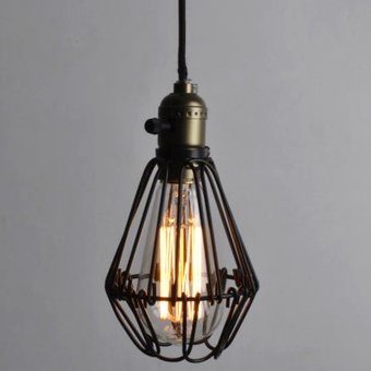 Retro Iron Hanging Lamp Cages Shade No Wire Pendant Light E27 Antique Brass