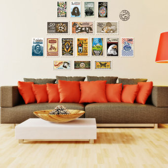 Retro living room bedroom library wallpaper wall stickers