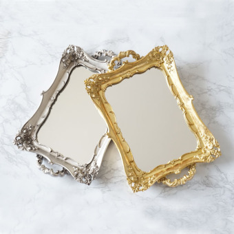 Retro mirror gold GONGTING style tea tray