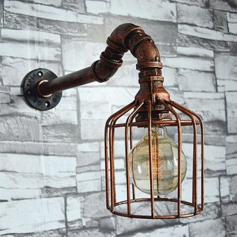 Retro Pipe Wall Lamp Industrial Wall Light Rustic Sconce VintageLight - intl