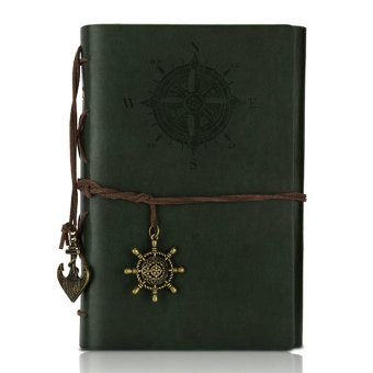 Retro Pirate Style Diary Book Spiral Ring Binder Notepad(Dark Green)