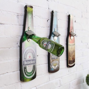 Retro Wine Bottle Wooden Bar Wine Bar Restaurant Home Wall Decorative Creative Beer Opener Wall Decorations Green 40*11CM - intl