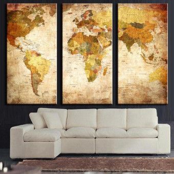 Retro World Map Framed Picture Canvas Print Wall Art Painting Ready To Hang - intl