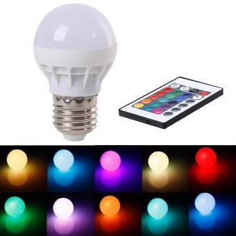 RGB LED Light Bulb - Color Changing with Remote Control,3W-E27-B50 - intl