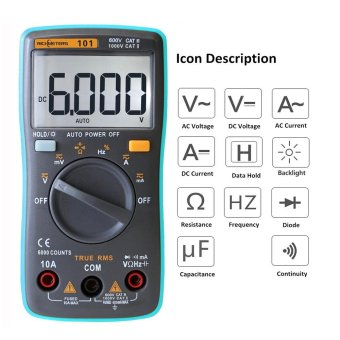 RICHMETERS True RMS LCD Digital Multimeter DMM DC AC VoltageCurrent Meter Resistance Diode Capacitance Tester MeasurementAutomatic Polarity Identification Ammeter Voltmeter Ohm - intl