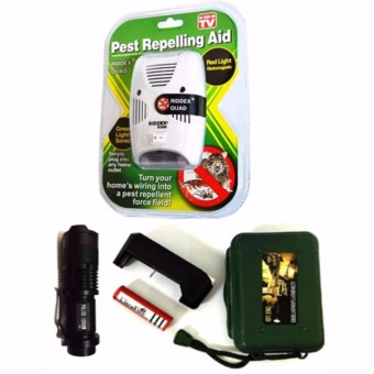 Riddex Quad Digital Pest Repelling Aid (As Seen On TV) with 1838Police Flashlight (Black)