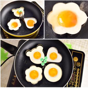 Rising Star 4pcs Set Stainless Steel Pancake Mould Kitchen FriedEgg Shaper Cooking Tools Free BBQ Brush - 4
