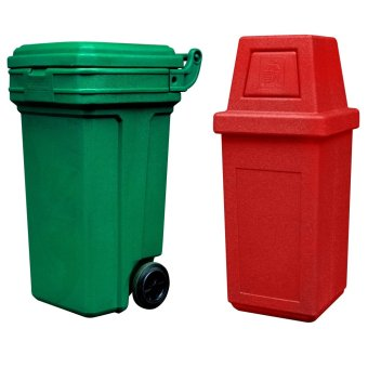 Roller King Large (Green) and Hooded Bin Medium (Red)