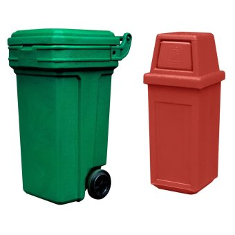 Roller King Large (Green) and Hooded Bin Small (Red)