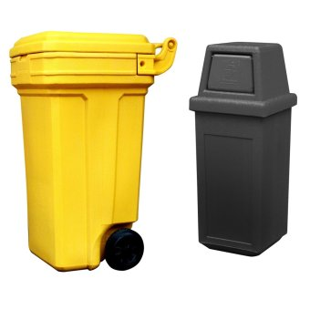 Roller King Large (Yellow) and Hooded Bin Small (Black)