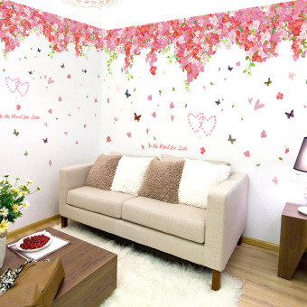 Romantic cherry bedroom ceiling living room marriage house wall sticker wall adhesive paper
