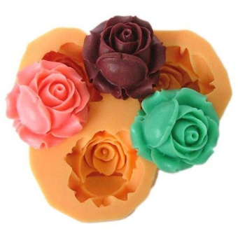 Rose Flower Silicone Ice Mold Cake Toppers Sugar Fondant Decoration Random Color - intl