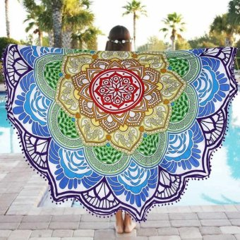 Round Beach Pool Home Shower Towel Blanket Table Cloth Yoga Mat - intl