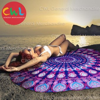Round Beach Towel Indian Mandala Design (Purple/Pink)