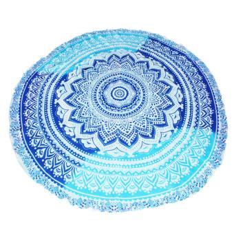 Round Beach Towel Mandala (Blue/Light Blue) - 2