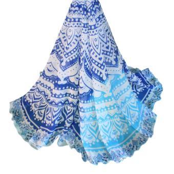 Round Beach Towel Mandala (Blue/Light Blue) - 3