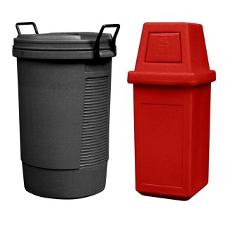 Round Bin (Black) and Hooded Bin Large (Red)