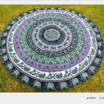 Round Multicolor Picnic Camping Beach Towels Home Pool Shower Towel Blanket Table Cloth Yoga Mat ( C ) 150x150cm - intl