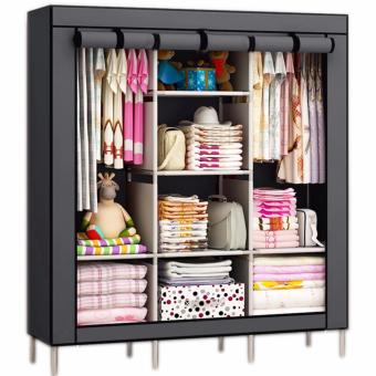 Rukia High Quality 88130 Fashion Cloth Organizer with 3 Door (Grey)with Foldable Non-Woven Fabric Cube with Three Drawers Design(Pink) - 2