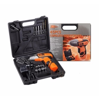 Rukia Mini Portable Electric Drill Cordless Screwdriver 45pcs TOOLs(Orange)
