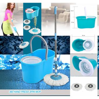 Rukia New 360? Microfiber Magic Rotating Spin Head Easy CleaningFloor Mop Bucket Set (Navy Blue) - 5