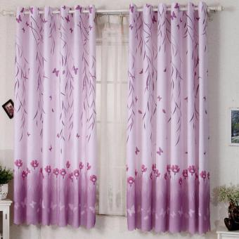 Rural Scenery Balcony Bedroom Shading Short Printing CurtainsPurple - intl Price Philippines