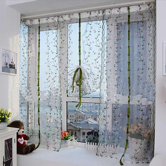 Rural Style Embroidered Floral Shade Sheer Door Cafe Kitchen Window Curtain - 2