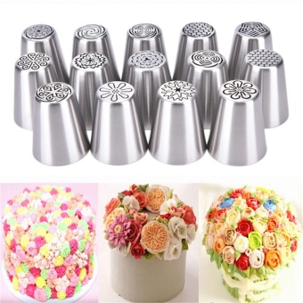 Russian Icing Piping Nozzles Tips Cake Decorating Sugarcraft Pastry Tools Silver 2.4*4.5cm - intl