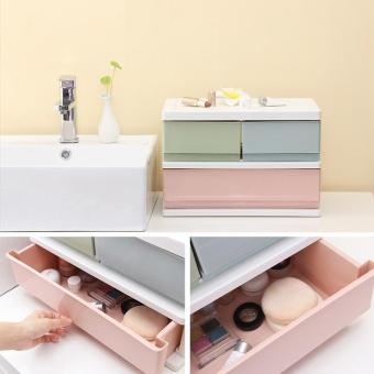 RuYiYu - 38.7 x 25.7 x 26cm, Multi Purpose Desktop Drawer UnitOrganizer,Bedroom 2 Layers Design Storage Box Container CabinetColorful - intl - 3