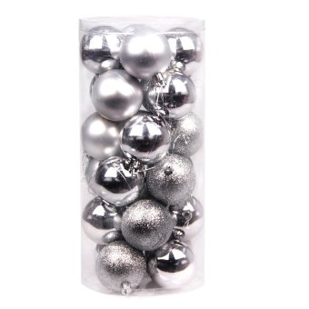 S & F 24x Round Christmas Balls Baubles Xmas Tree Decorations Silver (Intl)
