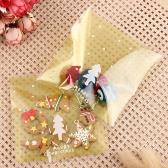 S & F Cute Christmas Xmas Cookie Biscuit Gift Candy Party Filler Cellophane Bags 100 Pcs - Intl - picture 2