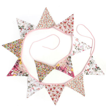 S & F 12 Flags Floral Print Cotton Fabric Bunting Birthday Tea Party Home Decoration (Intl)