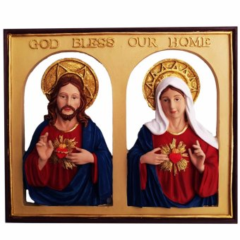Sacred Heart of Jesus and Immaculate Heart of Mary Plaque with GodBless Our Home Sign Religious Item (Made of Fiberglass Resin) byEverything About Santa (Christmas decoration and gift suggestion)