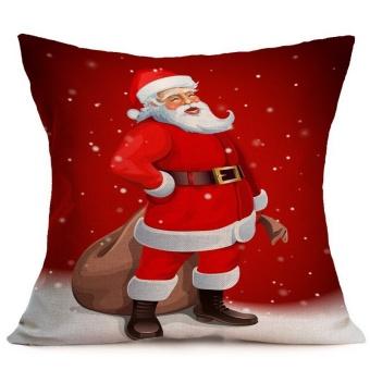 Santa Christmas Printed Pillow Case Sofa Chair Bedding Hotel Decorative Cushion Cover Pillowslip - intl