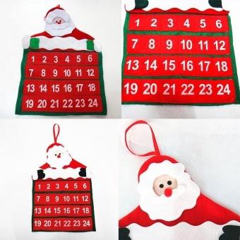 Santa Claus Christmas Advent Calendar Countdown Xmas Decor With Pockets Novelty - intl