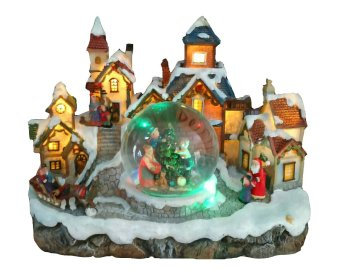 Santa Claus Electric Christmas Village Globe with Lights by Everything About Santa (Christmas decoration and gift suggestion)