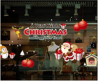 Santa Claus Gift Christmas Decoration Wall Stickers Window Stickers- intl Price Philippines