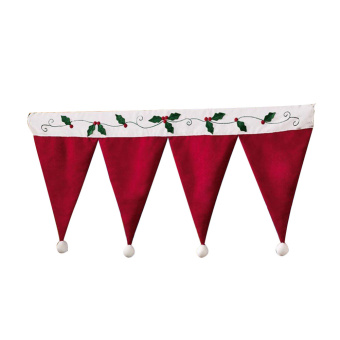 Santa Claus Hats Window Valance Christmas Decorations Xmas CurtainOrnaments Red
