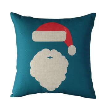 Santa Claus reindeer Christmas red and blue cotton pillowcase- Intl
