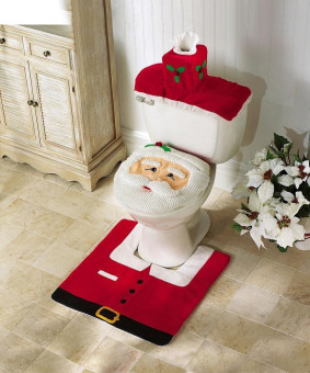 Santa Claus Toilet Seat Cover with Rug Bathroom Mat Set Christmas Decorations (Red) - Intl