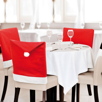 Santa Clause # Red Hat Chair Covers for Christmas dinner 6 pcs