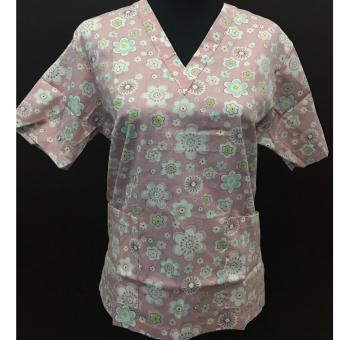 Scrub suit old rose floral top- Medium
