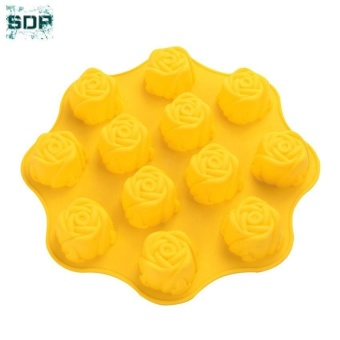 SDP 12 Hole Rose Flower Cake Silicone Mold Molds Cake Mould BakingTools Bakeware - intl Price Philippines